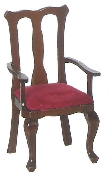 Queen Anne Red Armchair - Walnut