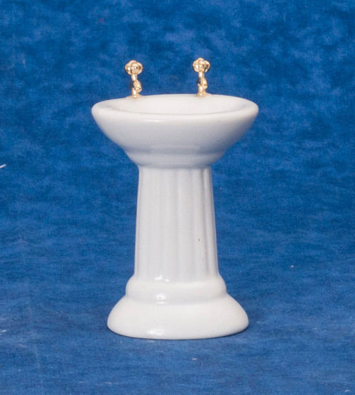 Dollhouse City - Dollhouse Miniatures Sink - White with Decal