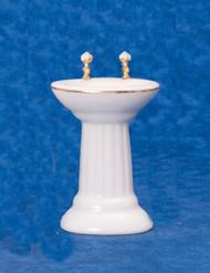 Dollhouse City - Dollhouse Miniatures White Sink - Gold Trim