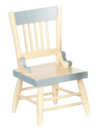 White Dining Chair with Blue Trim