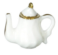 Dollhouse City - Dollhouse Miniatures Teapot with Gold Trim