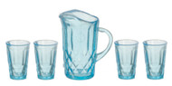 Pitcher with 4 Glasses - Blue