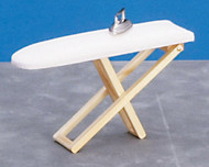 Dollhouse City - Dollhouse Miniatures Folding Ironing Board with Iron - Oak