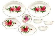 Bowls and Platters Set - Red Rose