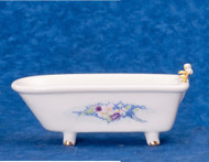 Dollhouse City - Dollhouse Miniatures White Bathtub - Gold Trim