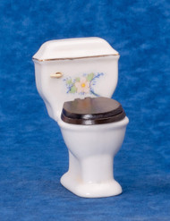 Dollhouse City - Dollhouse Miniatures White Toilet - Gold Trim