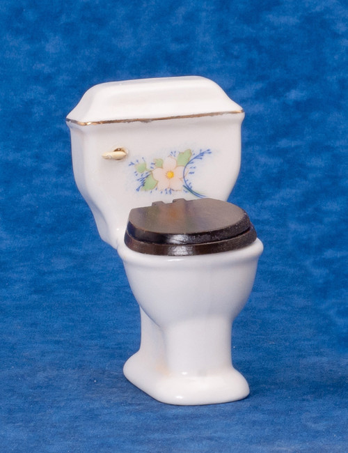 Dollhouse City - Dollhouse Miniatures White Toilet - Gold Trim