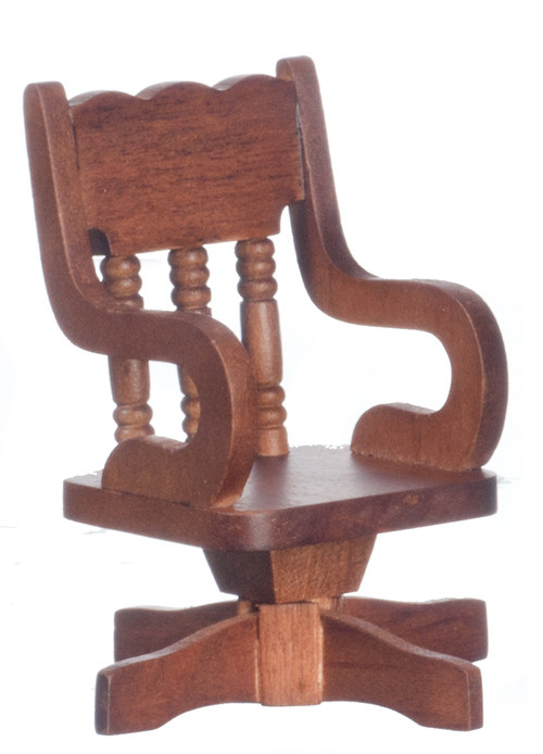 Dollhouse City - Dollhouse Miniatures Swivel Desk Chair - Walnut