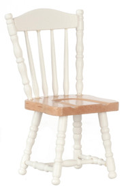 Dollhouse City - Dollhouse Miniatures Chair - White and Oak