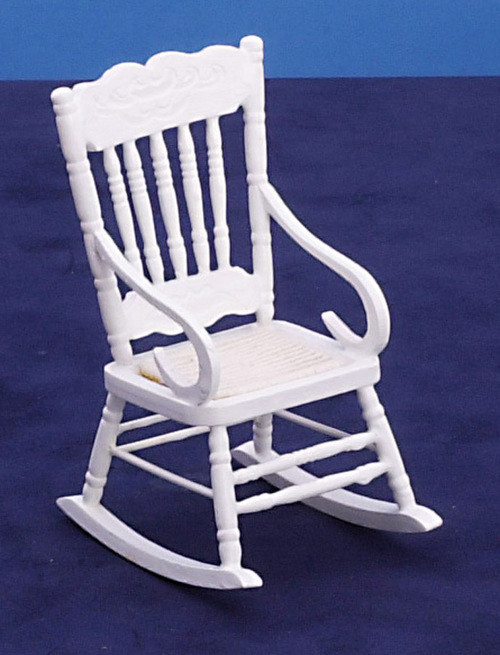 Dollhouse City - Dollhouse Miniatures White Rocker - Mesh Seat