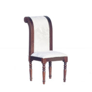 Side Chair with White Fabric - Walnut