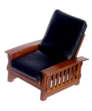 Chair - Black Leather - Walnut