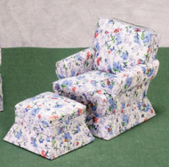 Chair and Ottoman - White