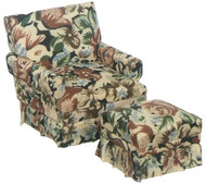 Brown Floral Chair and Ottoman - Walnut