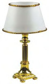 Brass Column Table Lamp - Crystal