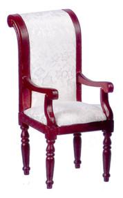 Dollhouse City - Dollhouse Miniatures Armchair With White Fabric - Mahogany
