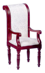 Dollhouse City - Dollhouse Miniatures Armchair With White Fabric - Mahogany