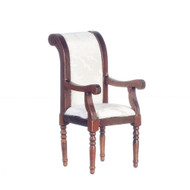 Armchair With White Fabric - Walnut