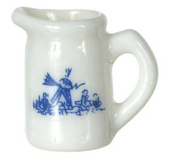 Porcelain Pitcher - White and Blue