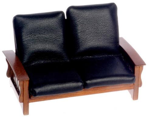 Sofa - Black Leather - Walnut