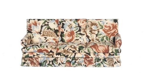 Brown Floral Sofa - Walnut