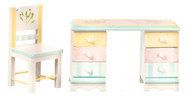 Dollhouse City - Dollhouse Miniatures Desk and Chair Set - Painted