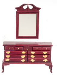 Dollhouse City - Dollhouse Miniatures Dresser with Mirror- Mahogany