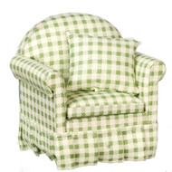 Chair with Pillows - Green - White