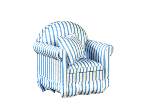 Chair with Pillows - Blue and White - Stripe