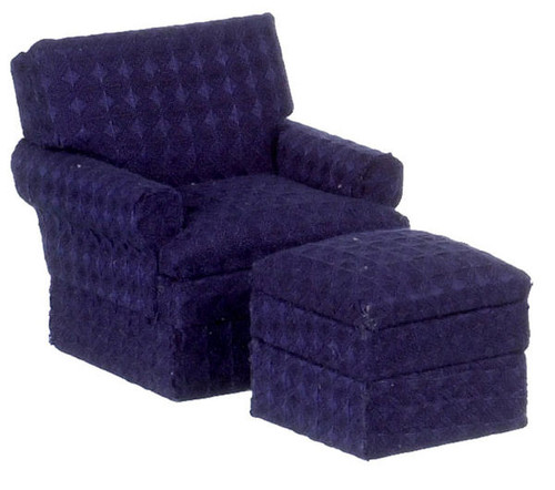 Traditional Club Chair and Ottoman - Blue