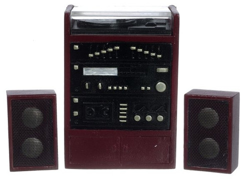 Stereo with Speakers - Mahogany