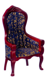 Dollhouse City - Dollhouse Miniatures Victorian Gent's Chair - White Brocade