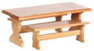 Dollhouse City - Dollhouse Miniatures Trestle Table Set - Oak