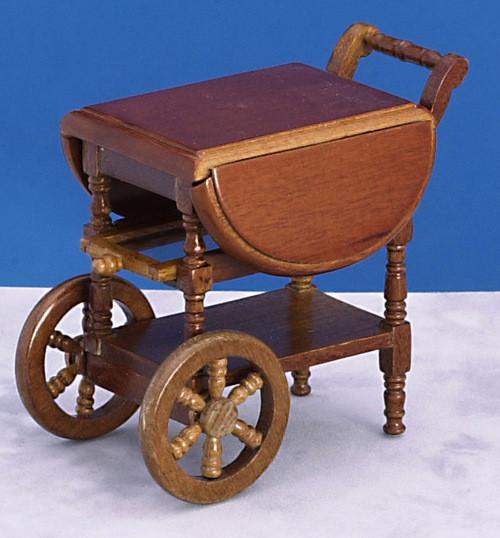 Dollhouse City - Dollhouse Miniatures Dropleaf Tea Cart - Walnut