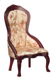 Victorian Lady's Chair with Floral Fabric - Mahogany