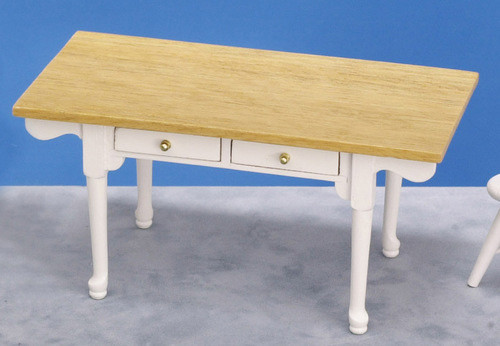 Dollhouse City - Dollhouse Miniatures Vermont Table - White and Oak