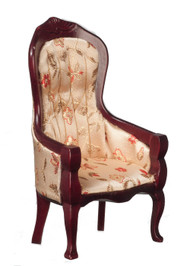 Victorian Gent's Chair with Floral Fabric - Mahogany