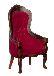 Victorian Gent's Chair - Red Velvet and Mahogany