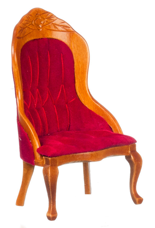 Dollhouse City - Dollhouse Miniatures Victorian Gent's Chair - Red and Walnut