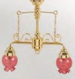 2-Arm Ornate Chandelier - Pink Shade