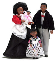 Black Victorian Doll Family - 4 pc