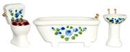 Blue  Floral Bath Set