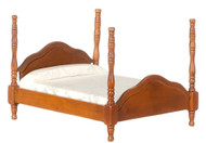 Dollhouse City - Dollhouse Miniatures Canonball Bed - Walnut