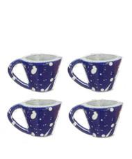 Cups Set - Blue Spatterware