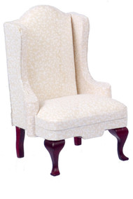 Dollhouse City - Dollhouse Miniatures Queen Anne Chair with White Fabric