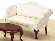 Queen Anne Loveseat - White and Mahogany