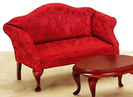 Queen Anne Loveseat - Red and Mahogany