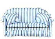 Sofa with Pillows - Blue - White -Stripe