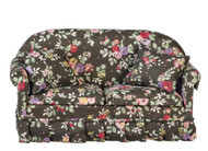 Sofa with Pillows - Black Floral
