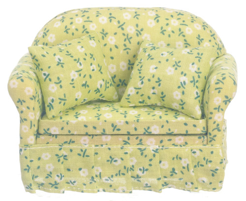 Dollhouse City - Dollhouse Miniatures Sofa with Green Floral Fabric - Walnut